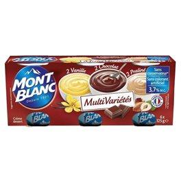 Mont Blanc Crème Dessert Chocolat Vanille Praliné (lot de 2)
