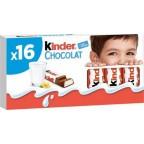 Kinder Chocolat Bâtonnets Barres chocolatées fourrées au lait 200g x16 (lot de 4)